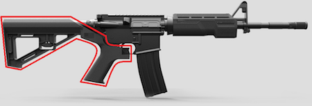 AR-15 with bump stock outlined