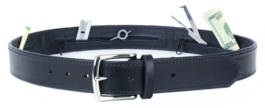 Leather belt with zippered pockets